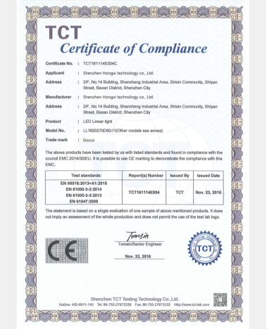 LED Linear Light Certificate